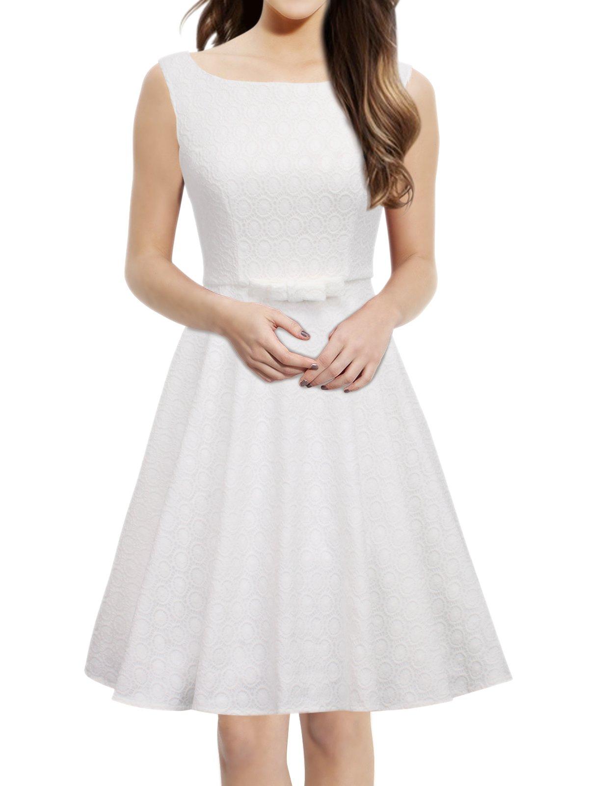 iLover Classic Vintage Audrey Hepburn Style 1950's Rockabilly Large Hem Evening Dress (White, XX-Large)