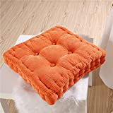 YJBear Corduroy Corn Lattice Cushion Pad Patio Solid Color Thicken Chair Seat Cushion Square Stuffed Super Soft Polyester Cotton Mat Pad for Home Office Kitcke Orange 20' X 20'