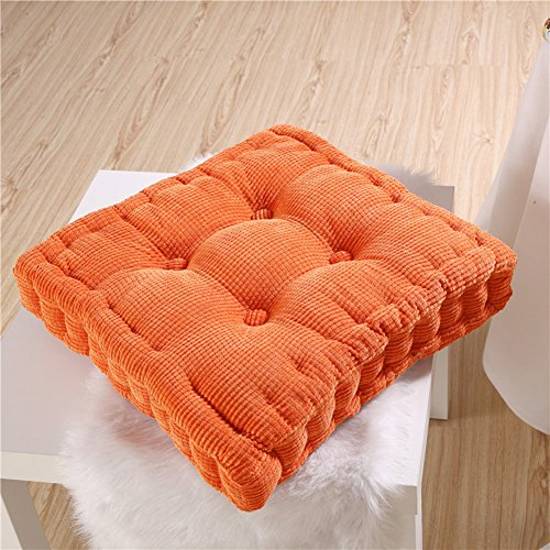 YJBear Corduroy Corn Lattice Cushion Pad Patio Solid Color Thicken Chair Seat Cushion Square Stuffed Super Soft Polyester Cotton Mat Pad for Home Office Kitcke Orange 16″ X 16″ For Sale