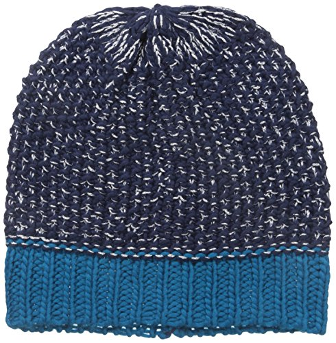 Nine West Women's Contrast Cuff Seed Stitch Beanie, Twilight/Deep Water/Silver, One Size