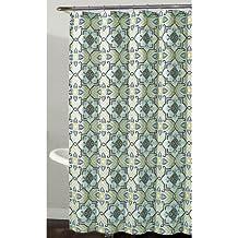 Richloom Home Fashions Millhouse Geometric Floral Fabric Shower Curtain In Shades Of White Lime Aqua Blue