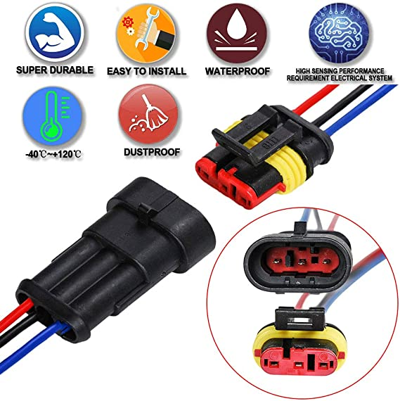 2 + 3 + 4 Pin Car Male /& Female Waterproof Electrical Connectors Plug Socket Kit With 10cm Wire AWG Gauge Marine HIFROM 10 Kit