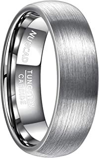 Nuncad Classic 7mm Brushed Finish Tungsten Carbide Domed Wedding Ring Bands Engagement Rings for Men Comfort Fit Size 7 to 12
