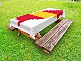 Lunarable Ibiza Outdoor Tablecloth, Balearic Island Map with Spain Flag Pattern Exotic Ibiza Holiday Theme, Decorative Washable Picnic Table Cloth, 58 X 104 Inches, Yellow and Dark Coral