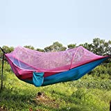 YXYMCF Outdoor Camping Parachute Hammocks Automatically Open Mosquito Net Hamac Survival Travel Hiking Trekking Sleeping Tent Mats Hanging Bed (Pink and blue)