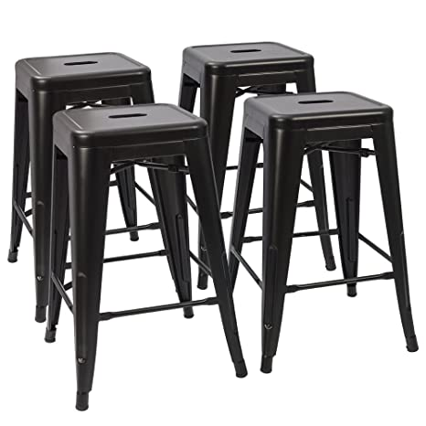 Prime Devoko Metal Bar Stools 24 Indoor Outdoor Stackable Barstools Modern Style Industrial Vintage Counter Bar Stools Set Of 4 Black Ibusinesslaw Wood Chair Design Ideas Ibusinesslaworg