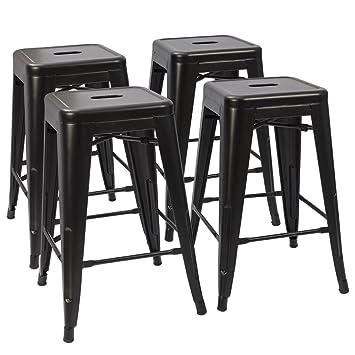 Devoko Tolix Style Metal Bar Stools 24u0027u0027 Indoor Outdoor Stackable Barstools  Modern Industrial Vintage