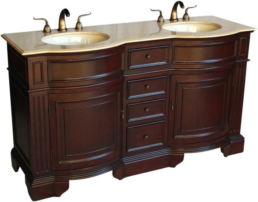 Amazon Com 60 Traditional Style Double Sink Bathroom Vanity Model 6060 F Kitchen Dining