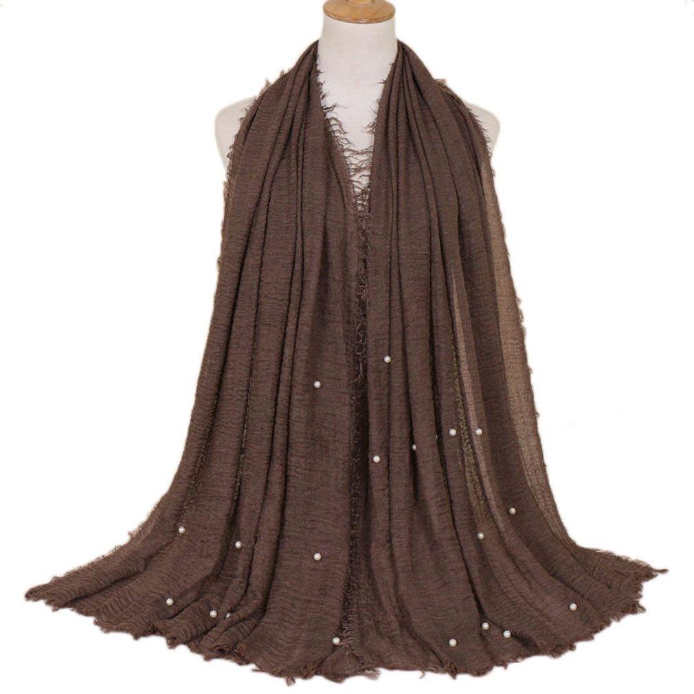 LMVERNA Women pearl wrinkle scarfs Maxi Scarf Cotton fashion long soft scarves (Dark Brown)