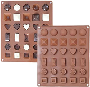 KALAIEN 2 Pack Silicone Chocolate Candy Molds, Ice Cube Tray Candy Mold Kitchen Baking Mould, Break-Apart Chocolate, Food Grade Non-Stick Silicone Protein