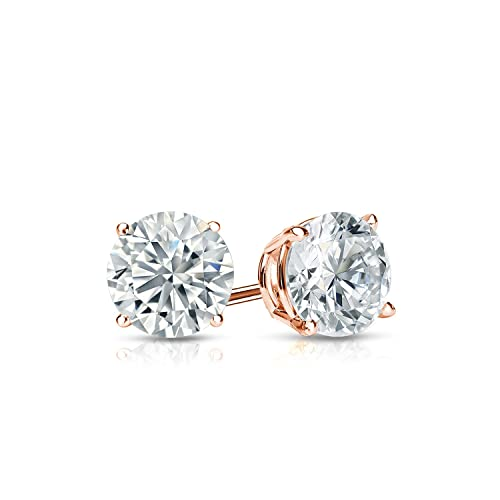 Diamond Wish 14k Gold Round Diamond Stud Earrings 1 2cttw, G-H, SI1-SI2 4-Prong Basket Push-Back