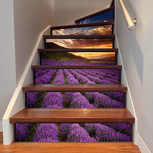 MAOYYM1 3D Flor De Lavanda Azulejo De Pared Escaleras Pegatinas PVC Extraíble Impermeable Wallpaper Cerámica Mural Poster para El Hogar Escalera Decoración: Amazon.es: Hogar