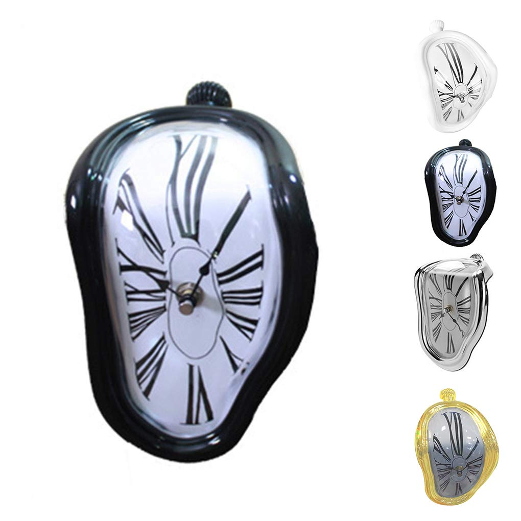 Lorsoul Tabelle Regal Schreibtisch Melting Clock Nicht tickt Stille Home Office Uhr Wohnzimmer Schlafzimmer Uhr