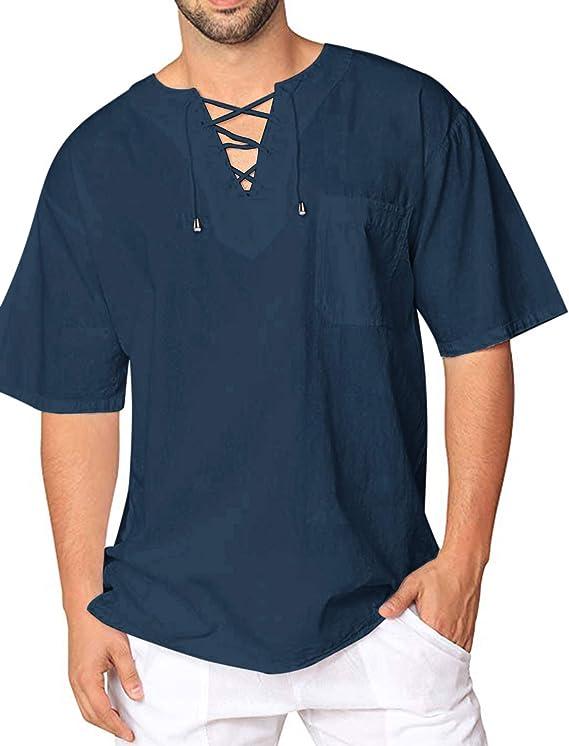 JINIDU - Camiseta de algodón y lino para hombre, diseño hippie ...