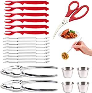 22pcs Professional Seafood Tools Picks Set, 2 Nut Crackers +1 Scissor +9 Knifes+6 Stainless Steel Forks +4 Sauce Cup, for Lobster, Crab, Crawfish, Shrimp, Shellfish - Kitchen Easy-opener Picnic Tools