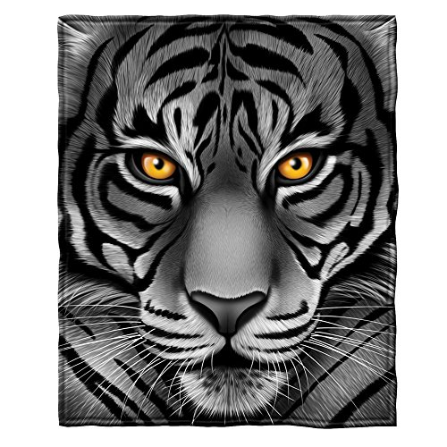 White Tiger Face Fleece Throw Blanket