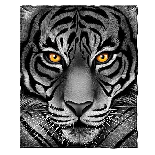 (White Tiger Face Fleece Throw Blanket)