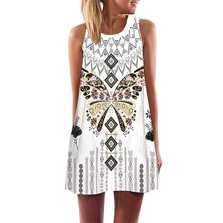 e969e0fea99 Womens Printed Racerback Vest Mini Dress Kanpola Ladies Loose Summer Beach  Sleeveless 3D Vintage Digital Floral Print Boho Round Collar Short Dresses   ...