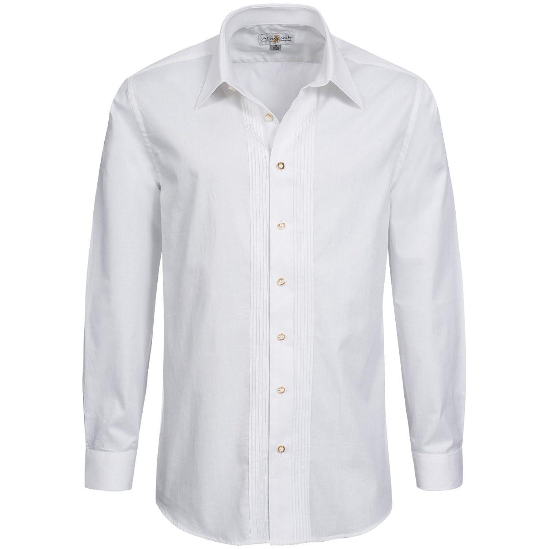Trachtenhemd Basic mit Biesen in Weiß von Almsach