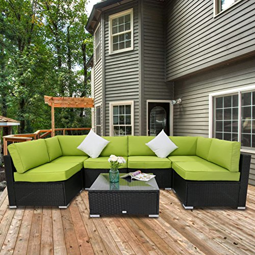 Peach Tree 7 PCs Outdoor Patio PE Rattan Wicker Sofa Sectional Furniture Set With Green Cushion, 2 Pillows and Tea Table (Cushion Tree Bench)