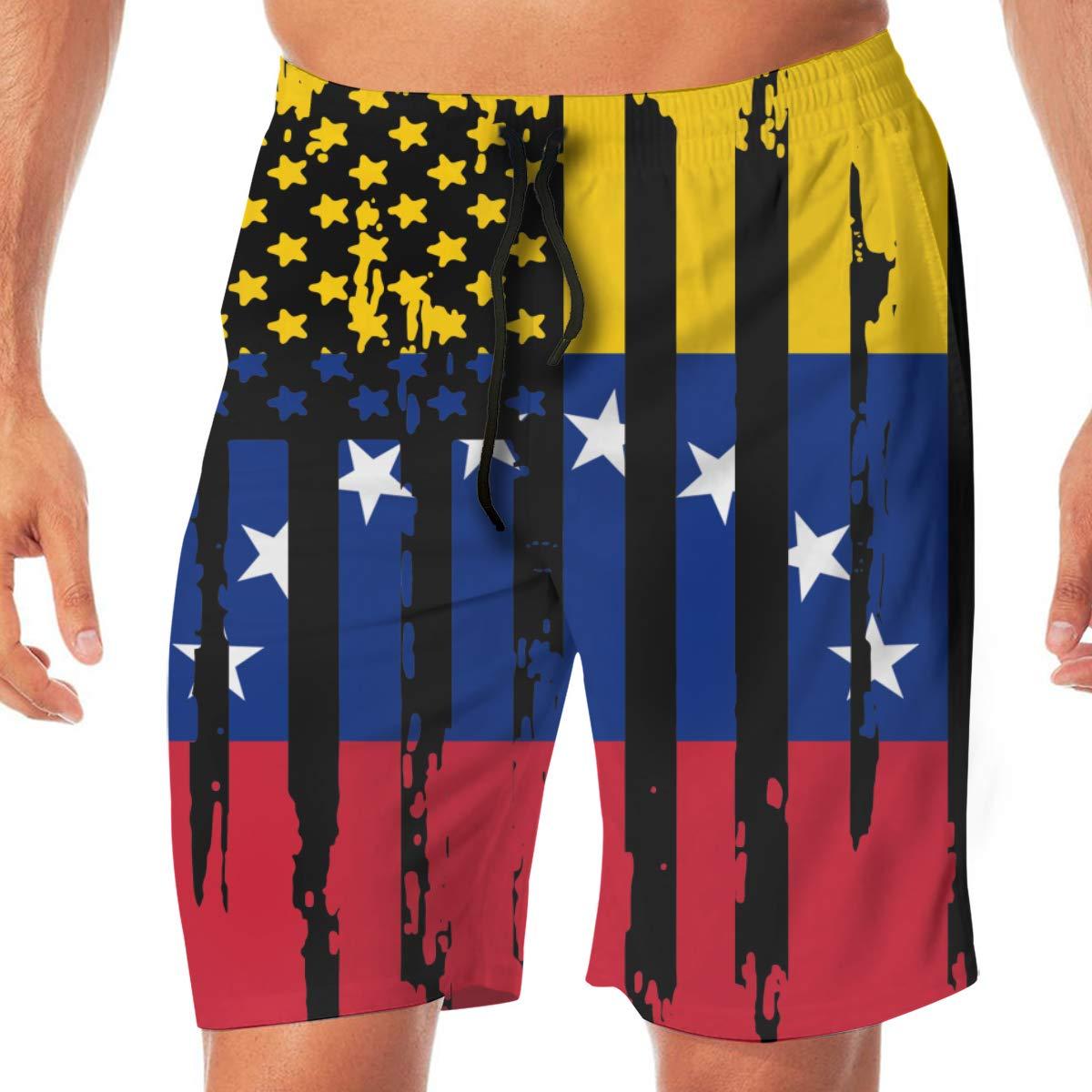 Mens Abstract American Venezuela Flag Boardshorts Beach Pants No Mesh Lining