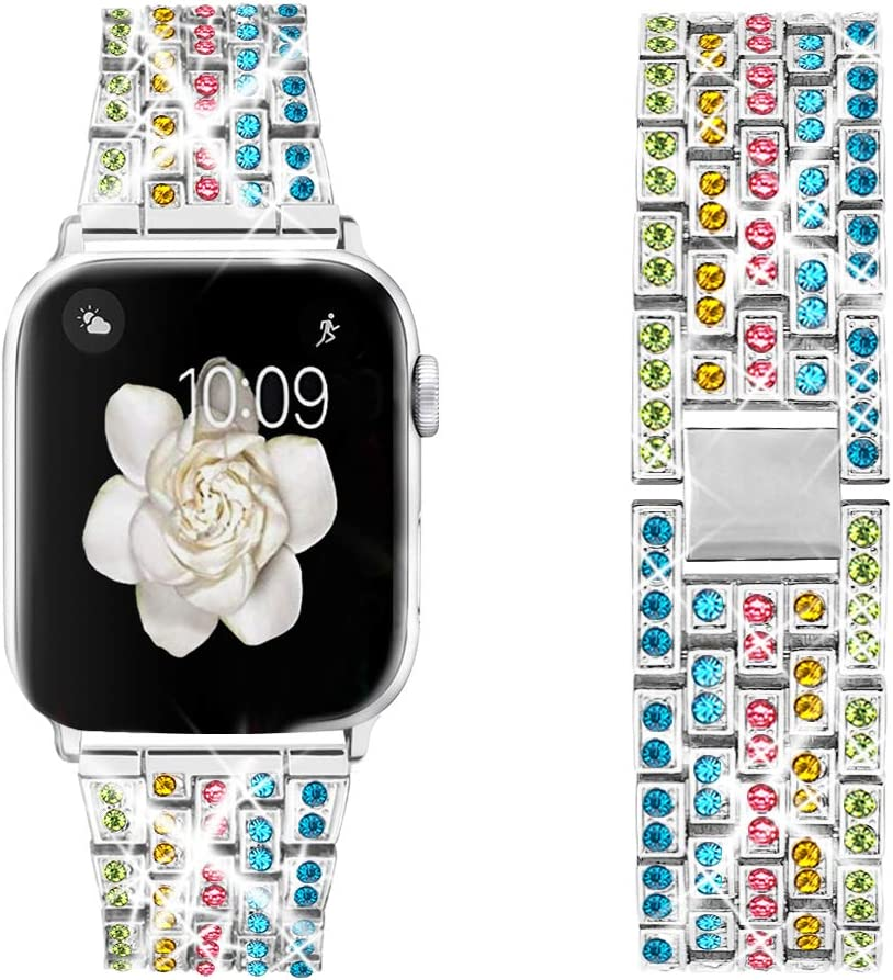 Dsytom Bing Band Compatible with Apple Watch Band 42mm 44mm 38mm 40mm,Jewelry Replacement Metal Wristband Strap for iWatch Band Series 6/5/4/3/2/1/SE(Colorful B)
