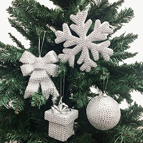 PEPPERLONELY 4PC/Pack Jumbo Size Silver Assorted Acrylic Rhinestone Christmas Ornaments