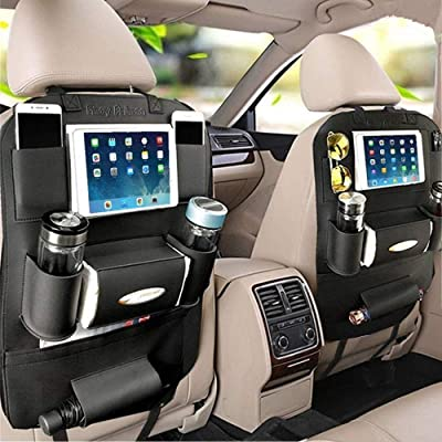 PALMOO Pu Leather Car Seat Back Organizer and iPad Mini Holder, Universal Use as Car Backseat Organizer for Kids, Storage Bottles, Tissue Box, Toys (2 Pack, Black): Automotive
