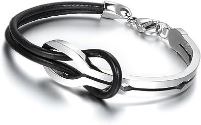 Fashion Men Women S Red Logo Metal Steel Leather Bangle Cuff Bracelet Jewelry