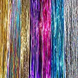 "20"" Hair Tinsel 175 Strands Seven Colors (Sparkling Silver, Purple, Rainbow, Hot Pink, Gold, White Gold, Blue) With Bonus"