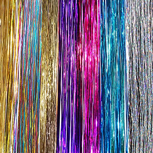 20'' Hair Tinsel 175 Strands Seven Colors (Sparkling Silver, Purple, Rainbow, Hot Pink, Gold, White Gold, Blue) With Bonus by La Demoiselle