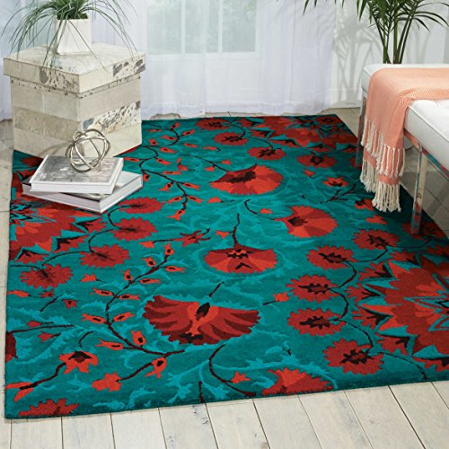 Nourison Suzani Teal Rectangle Area Rug, 3-Feet 9-Inches by 5-Feet 9-Inches (3'9