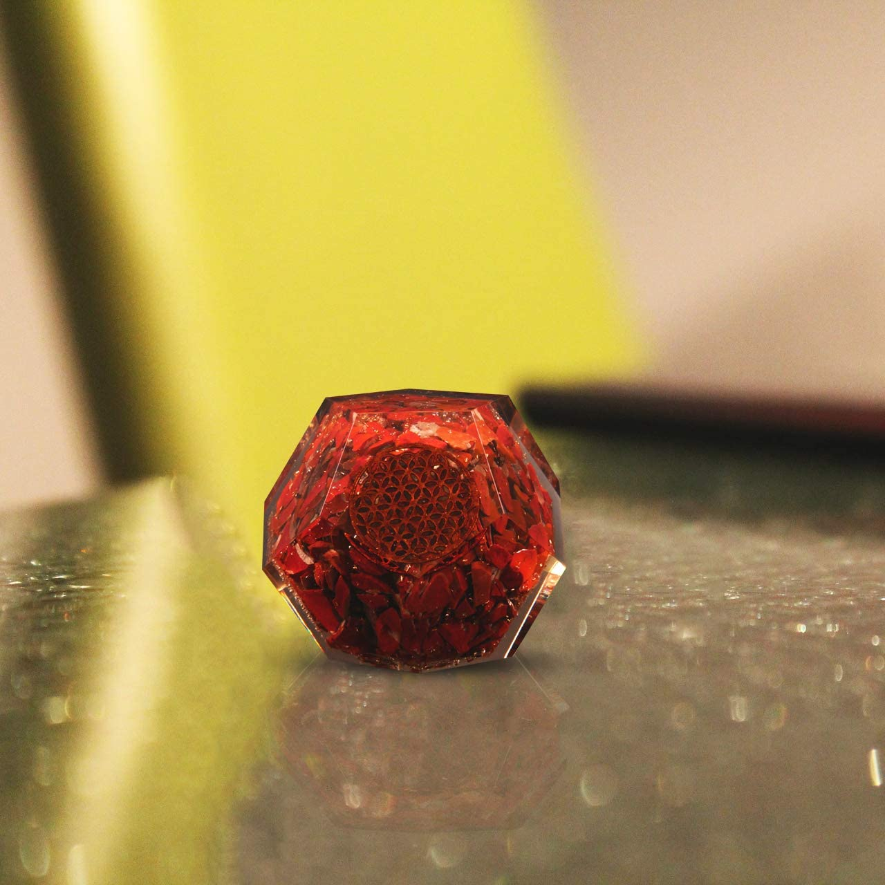 Crocon Natural Red Jasper Crystal Orgone Dodecahedron with Wooden Holder | Flower of Life Symbol | Reiki Healing | Meditation | EMF Protection | Home & Office Decor | Size Approx : 50-55 mm