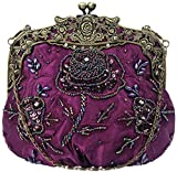 Bettyhome Women Retro Elegant Purple Flower Embroidery Beads Sequins Evening Bag Party Handbags Wedding Clutches Purse (purple)