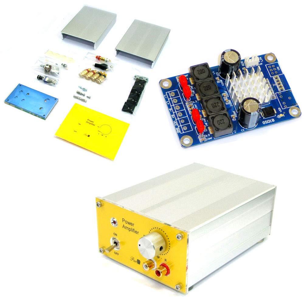 デジタルアンプ基板完成品+アンプ用アルミケースパーツセット+ACアダプターセット   B07J6GQTTX