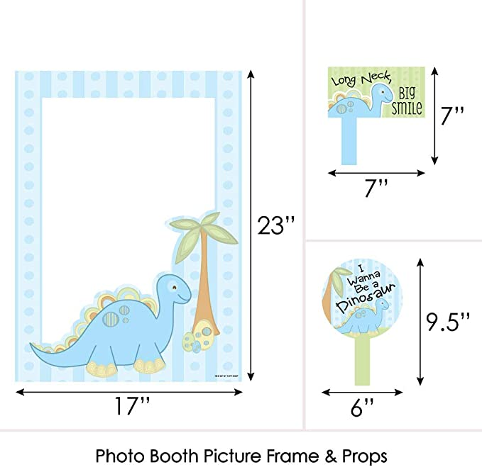 T-Rex Photography Backdrop Decoration 32 Count Jurassic World Birthday Party Supplies Dinosaur Birthday Party Favor Selfie Props for Boys Kids Konsait Dinosaur Photo Booth Props Kit
