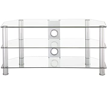 Amazon Com Fitueyes Classic Clear Tempered Glass Tv Stand Suit For