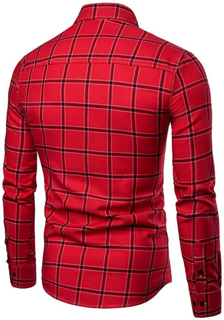 Sweatwater Men Button Front Casual Long Sleeve Slim Plaid Comfort Shirts