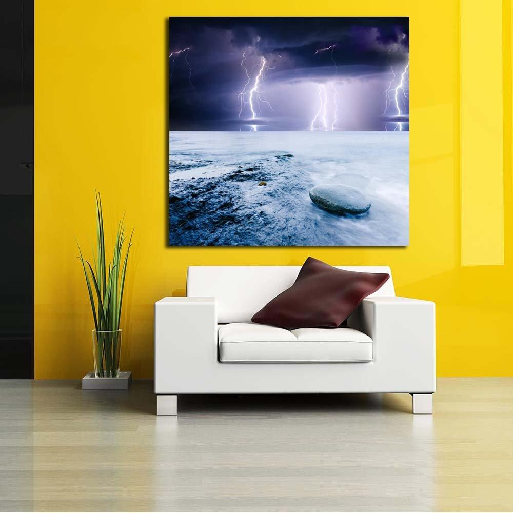 PB Summer Storm Beginning With Lightning Canvas Painting MDF Frame ...