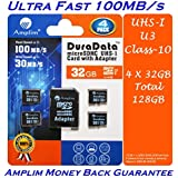 4 Pack 32GB Micro SD SDHC Memory Card Plus Adapter (Class 10 UHS-I U1 MicroSD HC Extreme Pro) 32 GB Ultra High Speed 100MB/s 667X Read UHS-1 MicroSDHC Flash. Amplim Cell Phone Tablet Camera 4X 32G TF