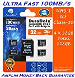 4 Pack 32GB Micro SD SDHC Memory Card Plus Adapter (Class 10 UHS-I U3 MicroSD HC Extreme Pro) 32 GB Ultra High Speed 100MB/s 667X Read UHS-1 MicroSDHC Flash. Amplim Cell Phone Tablet Camera 4X 32G TF