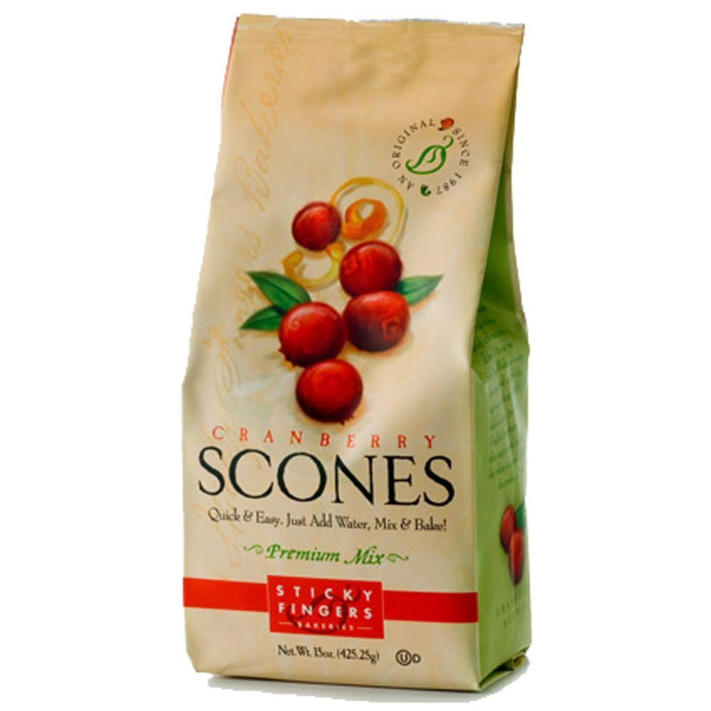 Sticky Fingers Scone Mix (Pack of 2) 15 Ounce Bags - All Natural Scone Baking Mix (Cranberry)