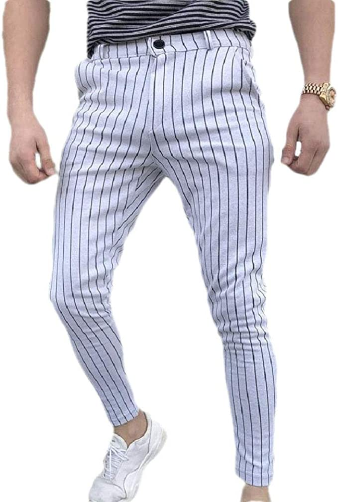Candiyer Men Business Relaxed Straight Stripes Mid Waist Plain Front Pant