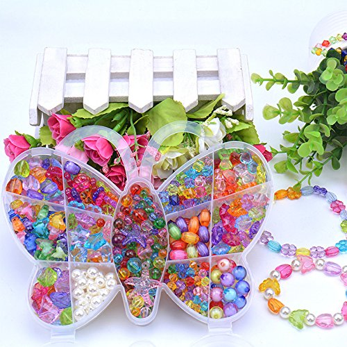 Lanlan 1 PCS DIY Jewelry Making Beading Kit Necklace Bracelet Bead for Children Kindergarten Handmade Materials Birthday Christmas Toy Gift Butterfly …