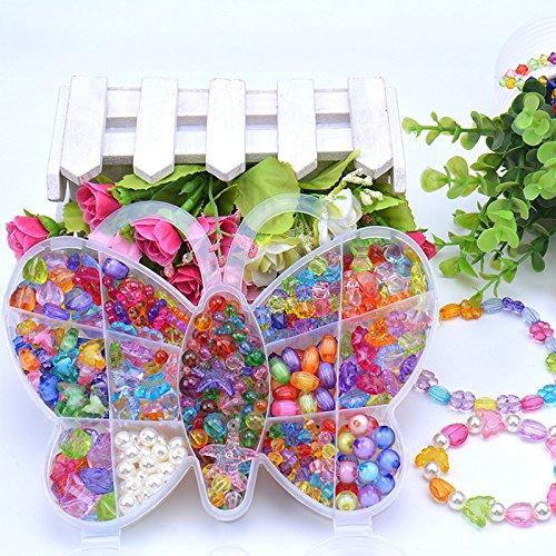 Lanlan 1 PCS DIY Jewelry Making Beading Kit Necklace Bracelet Bead for Children Kindergarten Handmade Materials Birthday Christmas Toy Gift Butterfly …