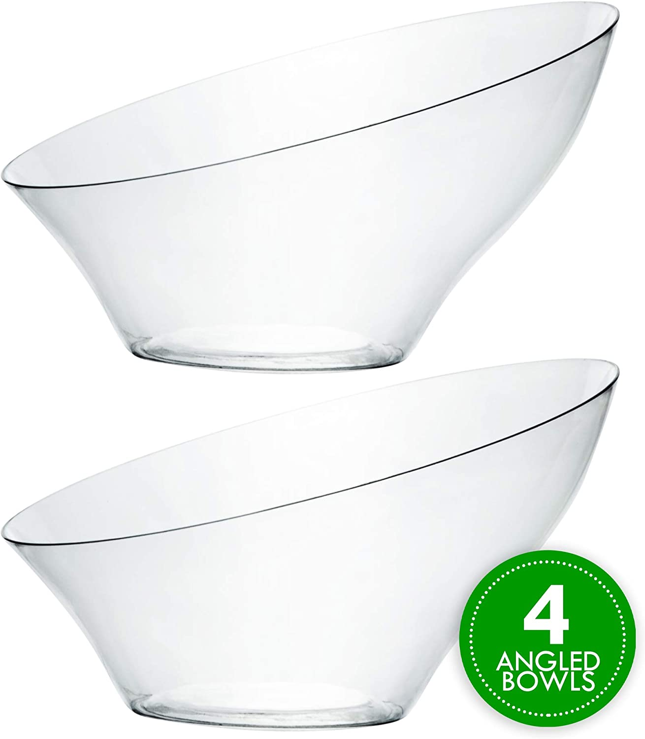Plasticpro Disposable Angled Plastic Bowls Round Medium Serving Bowl, Elegant for Party's, Snack, or Salad Bowl, Clear Pack of 4