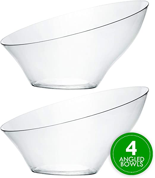 Party Serving Bowls Hard Plastic Bowl Disposable Angled Round Clear /& White