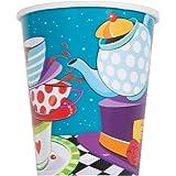 """Unique Party 49506 - 266 ml Bicchieri di Carta Tea Party """"Cappellaio Matto"""", Confezione da 8"""