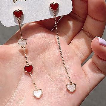 Hermosa 6cm de largo efecto Madera Rojo Corazón Forma Pendientes