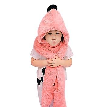 IBLUELOVER Bonnet Echarpe Moufle 3 en 1 Enfant Chapeau Fille Garcon Hiver  avec Un Foulard de dd34f6d21c2
